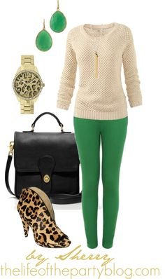 A fashion look from February 2013 featuring layered tops, green pants and high heel shoes. Browse and shop related looks. Trendy Outfits, Fall Outfits, Cute Outfits, Next Clothes, Future Fashion, Everyday Outfits, Casual Looks, Plus Size Fashion, What To Wear