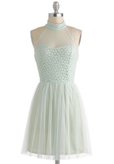 Tutu and From Dress - Sheer, Short, Mint, Solid, Backless, Party, Pastel, A-line, Ballerina / Tutu, Fairytale