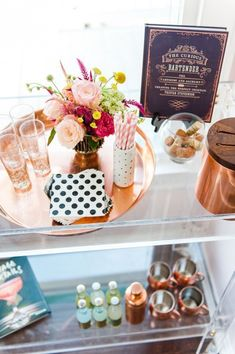 Love the way this bar cart looks party ready AND functional. Bar Cart Styling, Bar Cart Decor, Bar Deco, Looks Party, Sweet Carts, Gold Bar Cart, May Designs, Spring Home Decor, My Bar