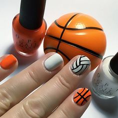 Basketball and Volleyball nails for  @malia_7704  @beccerz228  @queen.julia32  and  @brynna.geibel11  Also dedicated to my Beautiful Talented Niece @taylarob3rts . Polishes are #opi Alpine Snow and Juicebar Hopping from @hbbeautybar . Also black Acrylic craft paint. #shortnails #nubclubNew Nails