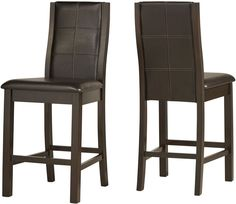 24 Inch Counter Stools Dark Espresso Vinyl Curved Back Foot Rest Dining Set of 2 #TribeccaHome #ContemporaryModernTransitionalUrban