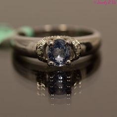 Diamond and Blue Sapphire Gemstone Engagement Ring 925 Sterling Silver $199.95