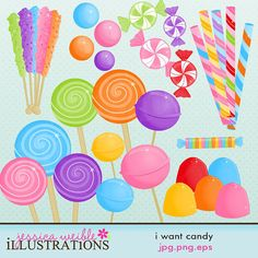 Candyland Clip Art - Classic Sweet Shop Clip Art - Digital Candy ...