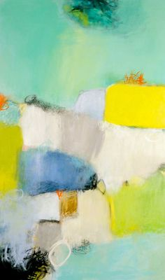 """""""Daybreak III"""" 36"""" x 60"""" large abstract, blue, green, grey, white, turquoise and orange abstract painting by Candace Primack"""
