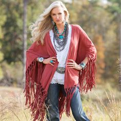 I have this shawl from Coldwater Creek I like the white blouse, jeans and chunky jewelry with it.