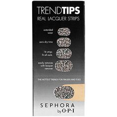 SEPHORA by OPI Trend Tips: Real nail polish that takes zero time to dry.  Just peel, stick, and go!  No smell, no mess..  a nail revolution.