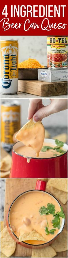 This 4 INGREDIENT BEER CAN QUESO is our absolute favorite EASY cheese dip! Made with just beer, shredded cheese, cream cheese, and spicy diced tomatoes! Game Day chips and dip here we come. via @beckygallhardin