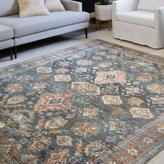 Shop Alexander Home Leanne Traditional Distressed Printed Area Rug - Overstock - 28796530 ***BROOKE selected for a neutral room like my living em with similar carpet*** Beige Area Rugs, Joss And Main, Vintage Space, Rugs, Alexander Home, Area Rugs For Sale, Trending Decor, Colorful Rugs, Area Rugs