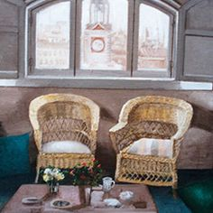 Cuadro de Amalia Avia #PintoresXX #AmaliaAvia #RealismoEspañol Spanish Painters, Wicker, Armchair, Furniture, Home Decor, Contemporary Paintings, Contemporary Art, Paint, Artists
