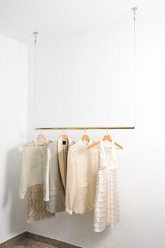 Brass Hanging Rail #storage #bedroom