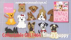 Eline puppies is an intricate set with lots of possibilites and is a supercute addition to Eline's Animal Family. Eline has captured many of the popular dog . Dog Cards, Kids Cards, Baby Cards, Card Making Tutorials, Card Making Techniques, Marianne Design Cards, Quilling Paper Craft, Paper Crafting, Dog Died