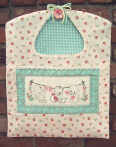 ::Made to Order Vintage Inspired Three Little Kittens Wash Day Clothespin Bag   ::This is for a pretty vintage inspired clothespin bag handmade with lots of love by me and that will be ready to be filled with clothespins for your wash day!  ::This clothespin bag will be made with the same pre...