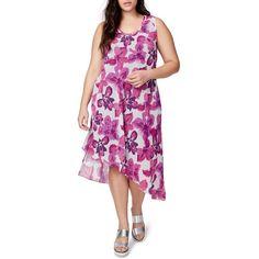 Plus Size Women's Rachel Rachel Roy Asymmetrical Floral Midi Dress ($97) ❤ liked on Polyvore featuring plus size women's fashion, plus size clothing, plus size dresses, plus size, floral dresses, floral midi dress, plus size purple dress, purple floral dress and plus size day dresses