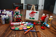 Elf on a shelf! We'd been CHristmas crafting with paints before bed and left the box out. Bippity and Boppity got into them and the result was an elf portrait!
