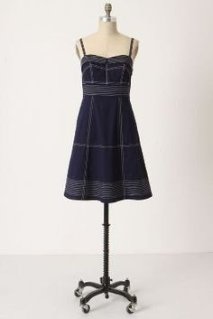 Anthropologie Maeve Clearly Constructed Navy Blue White Dress