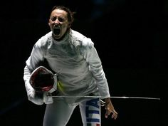 Italy's Elisa Di Francisca celebrates defeating her compatriot Arianna Errigo during their women's Individual Foil gold medal fencing match at the ExCel venue at the London 2012 Olympic Games Women's Fencing, Japanese Fence, Football Results, Olympic Gold Medals, Latest Sports News, Olympic Games, Physical Education, Olympics, Italy