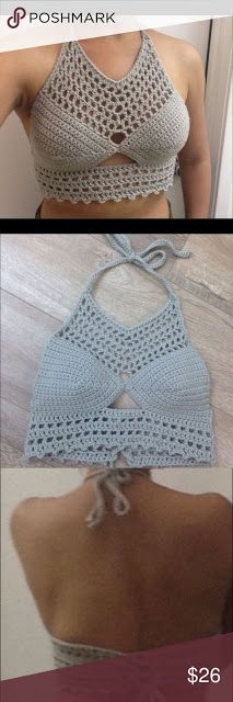 Crochet Lace Halter Top Handmade halter with adjustable neck ties and lace-up back. Fits Not offers accepted. Crochet Bikini Pattern, Crochet Halter Tops, Crochet Bikini Top, Crochet Shirt, Diy Crochet, Crochet Top, Swimsuit Pattern, Crochet Summer Tops, Summer Knitting