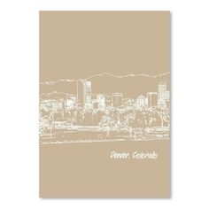 """East Urban Home Skyline Denver 7 by Brooke Witt Graphic Art in Tan Size: 14"""" H x 11"""" W"""