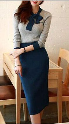 bow neck sweater dress, retro feel, feminine silhouette