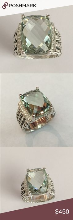 David Yurman Wheaton ring with Prasiolite 16x12mm Authentic Sterling silver David Yurman 16x12mm Prasiolite ring with diamonds size 8 excellent condition no scratches pouch is extra very nice gift David Yurman Jewelry Rings