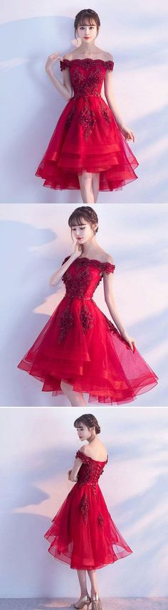 Cute burgundy lace tulle short prom dress, brugrendy party dress