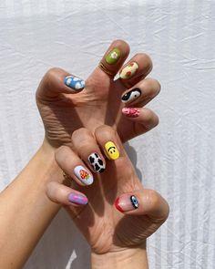 Edgy Nails, Aycrlic Nails, Funky Nails, Stylish Nails, Funky Nail Art, Colorful Nail Art, Grunge Nails, Minimalist Nails, Summer Acrylic Nails