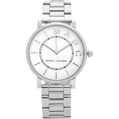 Marc Jacobs The Roxy 36Mm Satin Finish Dial Three Link Bracelet Watch (3.850 CZK) ❤ liked on Polyvore featuring jewelry, watches, silver, bezel watches, etched jewelry, marc jacobs, watch bracelet and dial watches
