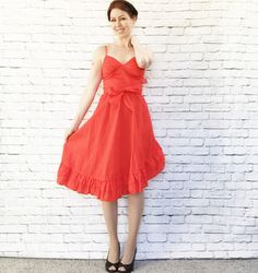Vintage 70s Red Ruffled Sun Dress XS S Asymmetrical Skirt Belted Spaghetti Straps Knee Length NOS by PopFizzVintage on Etsy