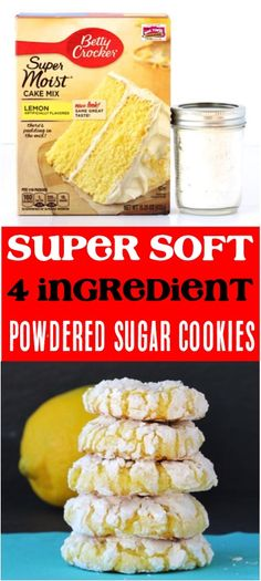 Soft Christmas cookies ideas are the best traditional decorated dessert! Lemon Cake Mix Cookie Recipe, Sugar Cookie Recipe Easy, Lemon Cake Mixes, Lemon Cookies, Cake Mix Recipes, Best Cookie Recipes, Sweet Recipes, 4 Ingredient Desserts, 4 Ingredient Cookies