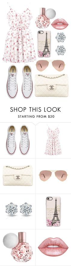 """""""take me to Paris"""" by watermelon-cdxii ❤ liked on Polyvore featuring Converse, Boohoo, Chanel, Ray-Ban, Casetify, Lime Crime and takemetoparispleassseilovetheefieltowereventhoghimighthavespeleditwrong"""