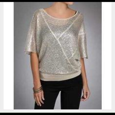 Matty M. Sequin knit top. Matty M. From Nordstrom loose fitting knit top with sequins. Champagne color. X small. Price is flexible. Open to offers. Great condition. Matty M.  Tops Blouses