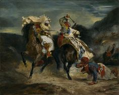 Combat of the Giaour and the Pasha (1827 CE) -Eugène Delacroix (Painter, 1798-1863 CE French) (The Art Institute of Chicago)