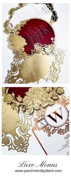 Luxe Menus. #Foil #Acrylic #Marsala #CopperFoil #RoseGold #Gold