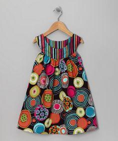 Brown Circle Yoke Dress - Toddler & Girls