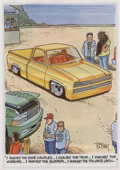 A board dedicated to George Trosley, Cartoons Magazine artist Chevy Silverado, C10 Chevy Truck, Cartoon Sketches, Cartoon Art, Custom Trucks, Custom Cars, Pick Up, Chevy Tattoo, Cartoons Magazine
