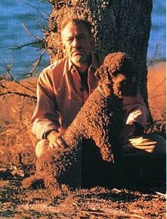 John Steinbeck with his standard poodle Charley. #johnsteinbeck #Steinbeck www.OneMorePress.com