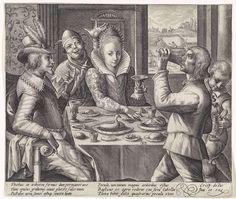 Crispijn van de Passe (I) | Middag: paar aan de maaltijd, Crispijn van de Passe (I), 1574 - 1637 | De Middag: interieur met een elegant gekleed paar dat dineert aan een rijk gevulde tafel. Achter de vrouw staat een nar. Door het venster is een akker te zien waarop boeren koren oogsten. In de marge een zesregelig onderschrift, in twee kolommen, in het Latijn dat verwijst naar de middag.