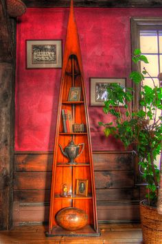Canoe Shelf....this would be right up Alex's alley.  We do already have vintage skies hanging on our wall
