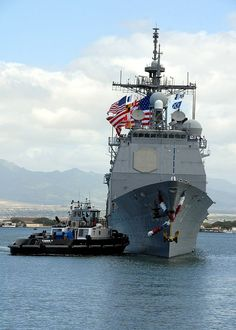 PEARL HARBOR, Hawaii (May 2, 2008) The Ticonderoga-class guided-missile cruiser USS Port Royal (CG 73) makes her way pier side to Naval Station Pearl Harbor after a six-month deployment to the western Pacific Ocean as part of the Tarawa Expeditionary Strike Group supporting the global war on terrorism. U.S. Navy photo by Mass Communication Specialist 2nd Class Michael A. Lantron (Released)