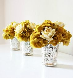 Mercury glass... and the color of the arrangement is perfect. Mustard Dyed Hydrangea