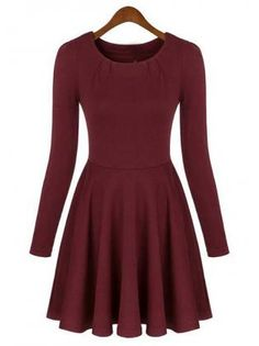 Wine Red Long Sleeve Skater Dress for Woman