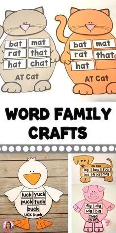 Word Family and Vowel Team Crafts Jolly Phonics, Teaching Phonics, Phonics Activities, Kids Learning Activities, Preschool Themes, Preschool Printables, Kindergarten Reading, Kindergarten Worksheets, Kindergarten Sight Words