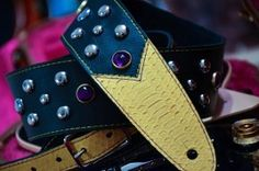 BadAxe Straps Custom leather guitar straps Legacy Series Python Yellow Amethyst Purple