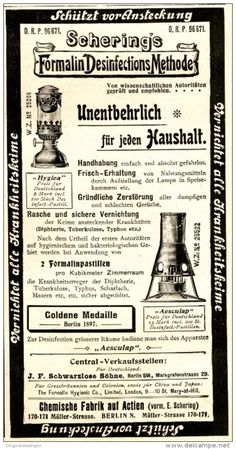 Original-Werbung/ Anzeige 1898 - SCHERING'S FORMALIN DESINFECTIONS - METHODE…