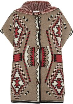 f1dba6542c Patterned Wool-blend Hooded Poncho - Lyst Hooded Poncho