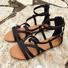 Black Strappy Sandals with zip back closure. Wear with EVERYTHING!                                                                                                                                                                                 More