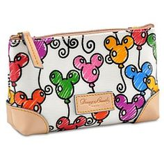 Dooney & Bourke Disney balloon cosmetic bag...tip...if you have a wristlet...you can take the detachable strap off and put it on your Mickey Balloon Cosmetic Bag.