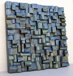Charcoal (2012) Watercolor and oil on the wooden blocks. Dim 2.5 x 2.5 feet