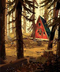 Kunst Inspo, Art Inspo, Art And Illustration, Wood Illustrations, Arte Peculiar, Fantasy Kunst, Environmental Art, Landscape Art, Game Art