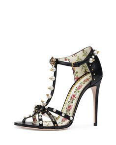 0c5a8cab9837  1350 Get free shipping on Gucci 110mm Regina Studded Leather Sandals at  Neiman Marcus. Shop